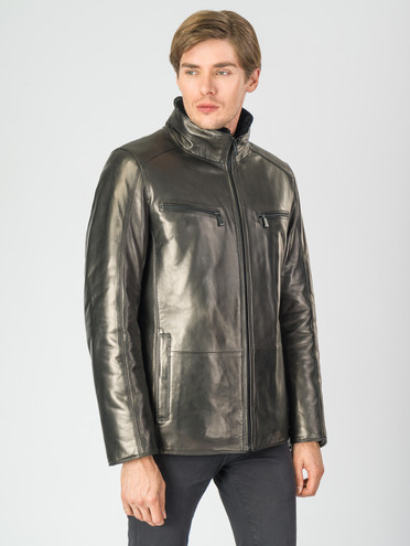 Кожаная куртка кожа , цвет черный, арт. 18007270  - цена 21290 руб.  - магазин TOTOGROUP
