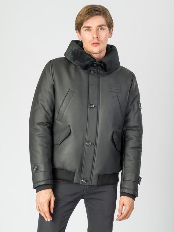 Кожаная куртка кожа , цвет черный, арт. 18007274  - цена 13390 руб.  - магазин TOTOGROUP