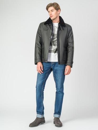 Кожаная куртка кожа, цвет черный, арт. 18007275  - цена 6290 руб.  - магазин TOTOGROUP