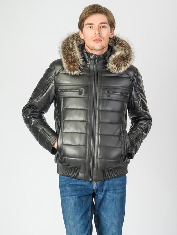 Кожаная куртка кожа баран, цвет черный, арт. 18007279  - цена 16990 руб.  - магазин TOTOGROUP