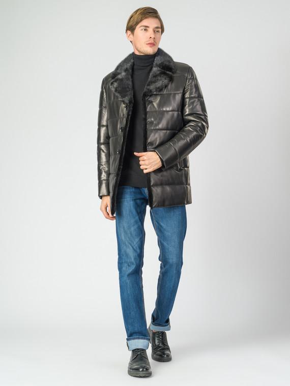 Кожаная куртка кожа баран, цвет черный, арт. 18007284  - цена 18990 руб.  - магазин TOTOGROUP