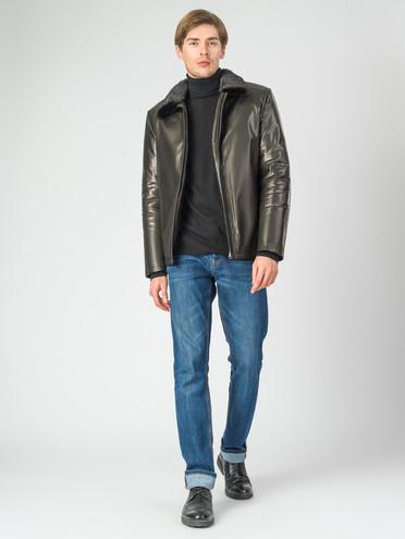 Кожаная куртка кожа баран, цвет черный, арт. 18007287  - цена 28490 руб.  - магазин TOTOGROUP