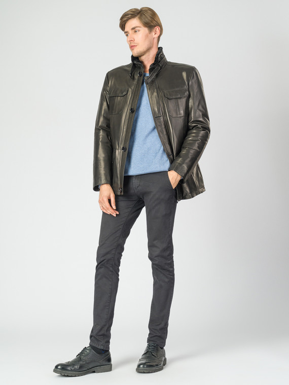 Кожаная куртка кожа баран, цвет черный, арт. 18007288  - цена 19990 руб.  - магазин TOTOGROUP