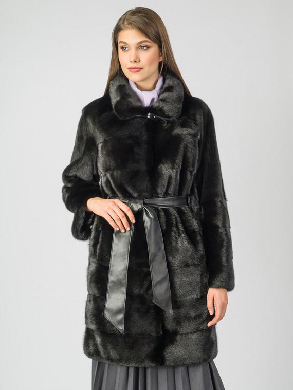 Шуба из норки мех норка, цвет черный, арт. 18007291  - цена 56490 руб.  - магазин TOTOGROUP