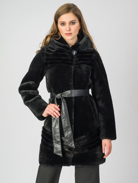 Шуба из мутона мех мутон, цвет черный, арт. 18007311  - цена 28490 руб.  - магазин TOTOGROUP