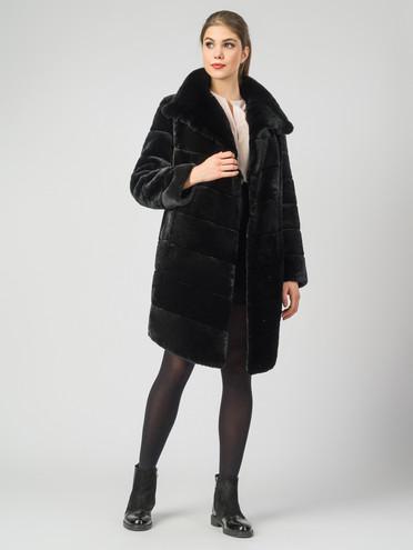 Шуба из мутона мех мутон, цвет черный, арт. 18007473  - цена 19990 руб.  - магазин TOTOGROUP