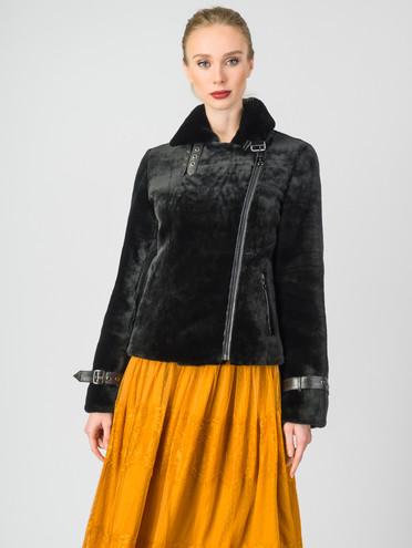 Шуба из мутона мех мутон, цвет черный, арт. 18007477  - цена 26990 руб.  - магазин TOTOGROUP