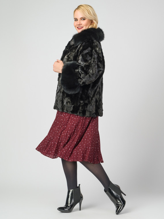Шуба из норки мех норка, цвет черный, арт. 18007482  - цена 37990 руб.  - магазин TOTOGROUP
