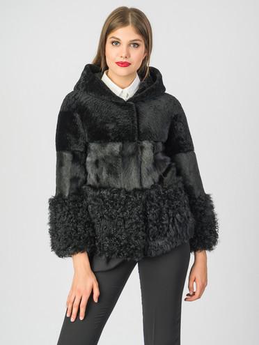 Шуба из мутона мех мутон, цвет черный, арт. 18007558  - цена 23990 руб.  - магазин TOTOGROUP