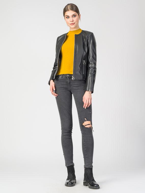 Кожаная куртка кожа , цвет черный, арт. 18106251  - цена 13390 руб.  - магазин TOTOGROUP