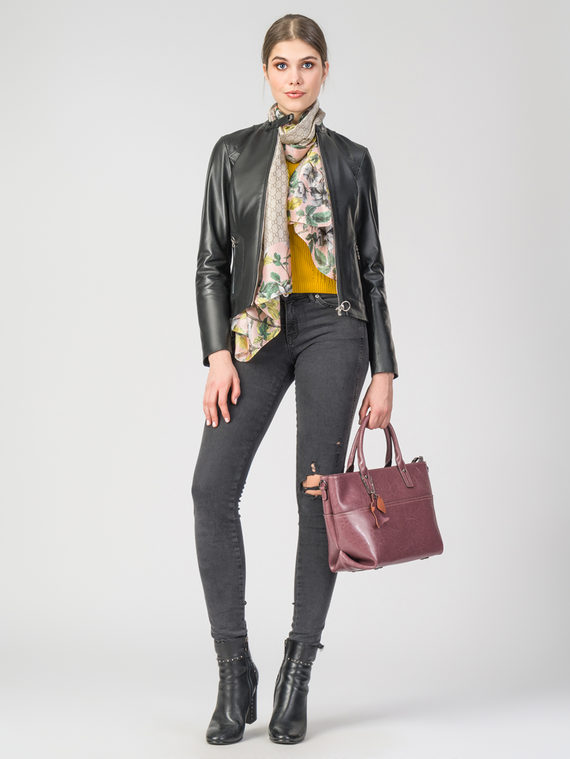 Кожаная куртка кожа , цвет черный, арт. 18106253  - цена 13390 руб.  - магазин TOTOGROUP