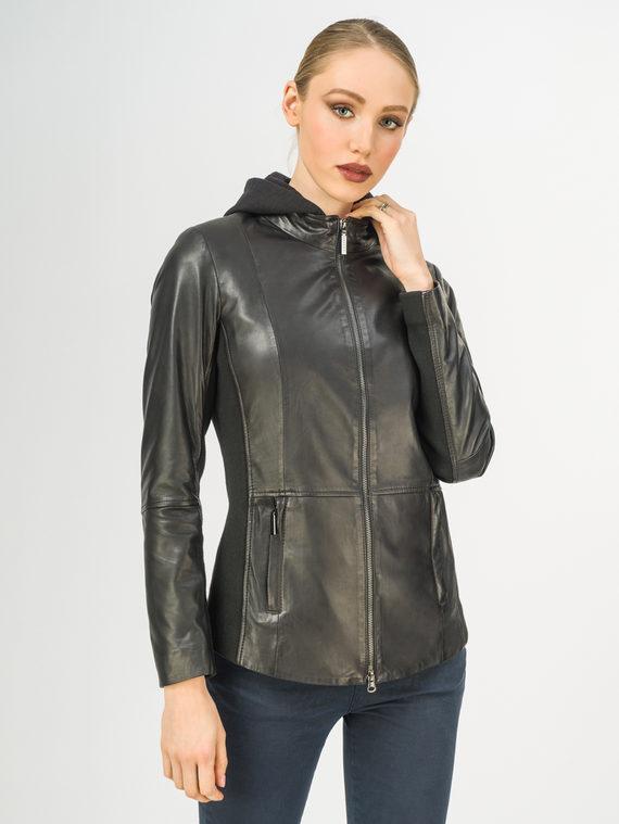 Кожаная куртка кожа , цвет черный, арт. 18106260  - цена 9490 руб.  - магазин TOTOGROUP