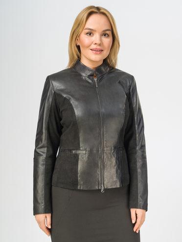 Кожаная куртка кожа , цвет черный, арт. 18106299  - цена 10590 руб.  - магазин TOTOGROUP