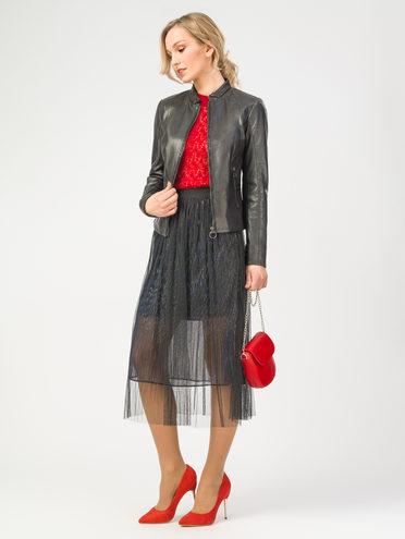 Кожаная куртка кожа , цвет черный, арт. 18106315  - цена 9490 руб.  - магазин TOTOGROUP