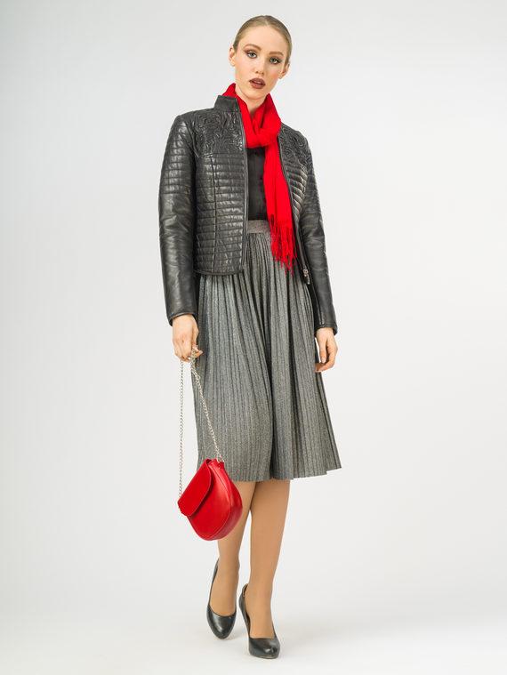 Кожаная куртка кожа , цвет черный, арт. 18106317  - цена 13390 руб.  - магазин TOTOGROUP