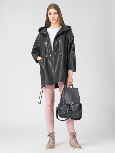 Кожаное пальто эко-кожа 100% П/А, цвет черный, арт. 18107837  - цена 4490 руб.  - магазин TOTOGROUP