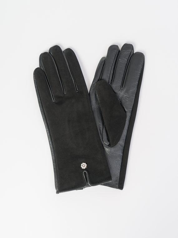 Перчатки кожа замша, цвет черный, арт. 18107988  - цена 1330 руб.  - магазин TOTOGROUP