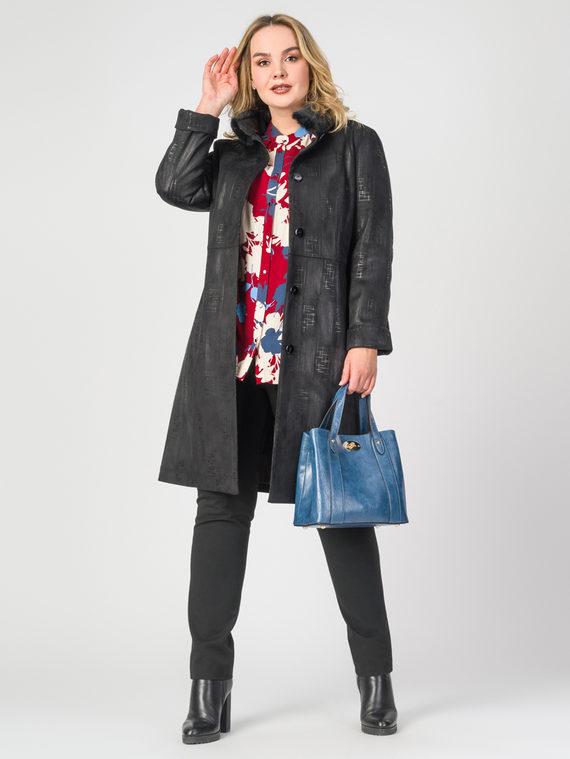 Кожаное пальто эко-замша 100% П/А, цвет черный, арт. 18108091  - цена 7990 руб.  - магазин TOTOGROUP