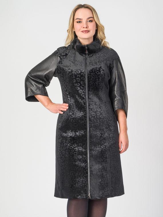 Кожаное пальто эко-замша 100% П/А, цвет черный, арт. 18108093  - цена 9990 руб.  - магазин TOTOGROUP