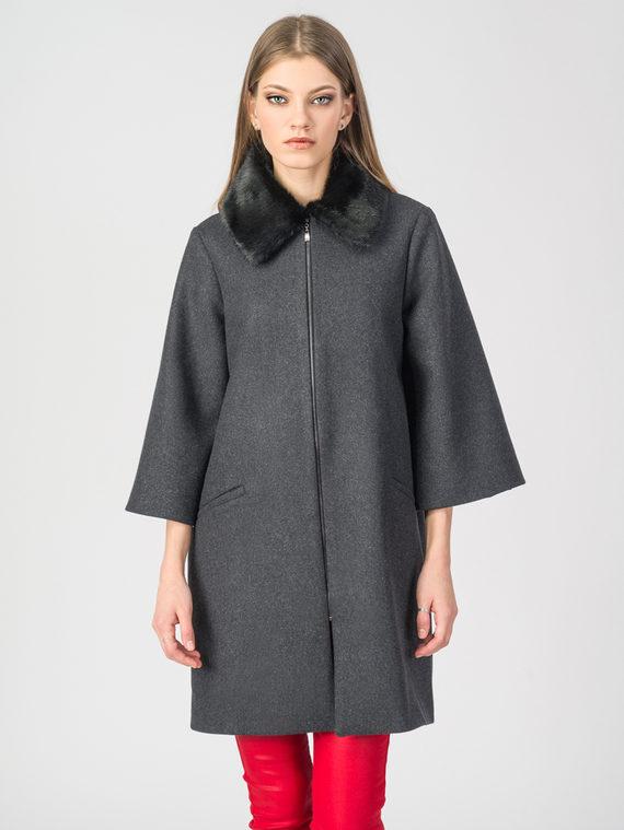 Текстильное пальто 30%шерсть, 70% п\а, цвет темно-серый, арт. 18108107  - цена 5890 руб.  - магазин TOTOGROUP
