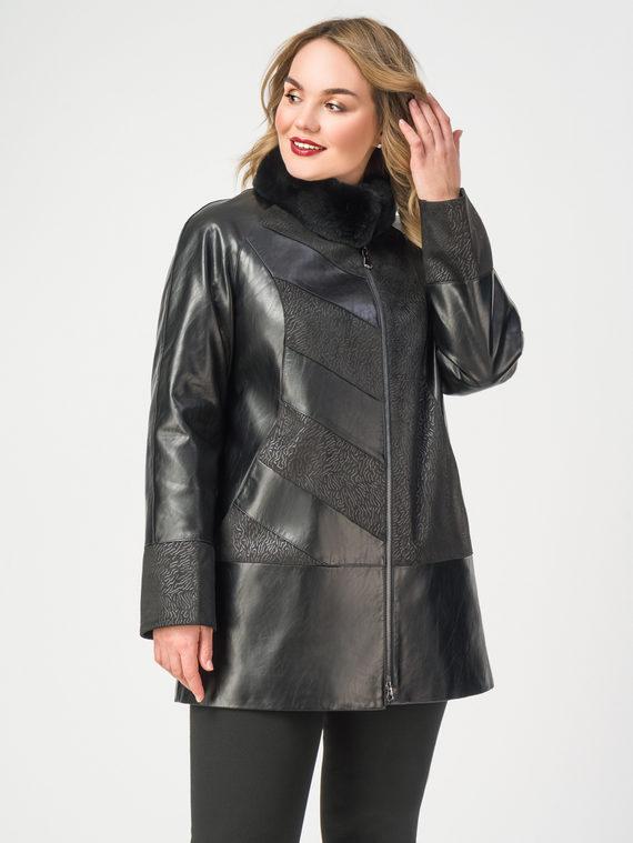 Кожаная куртка эко-кожа 100% П/А, цвет черный, арт. 18108114  - цена 10590 руб.  - магазин TOTOGROUP