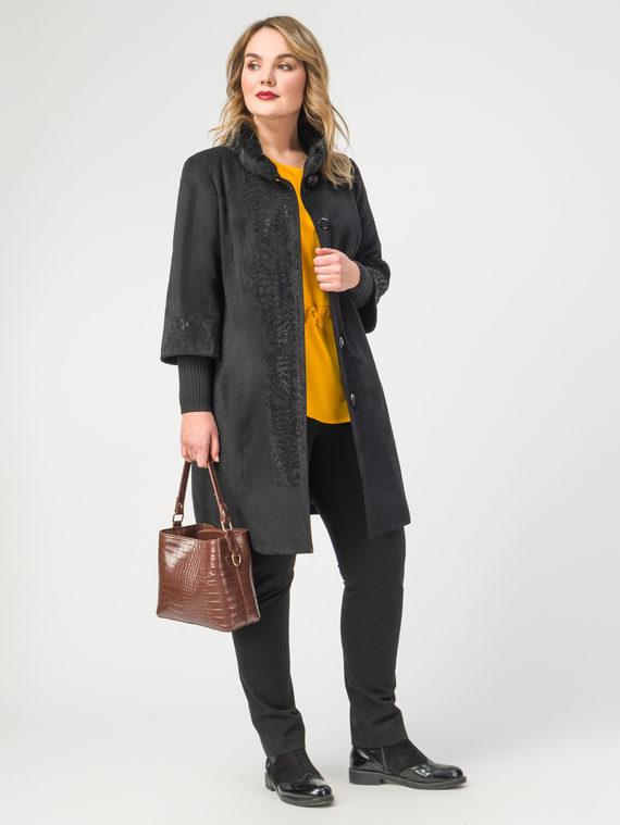 Кожаное пальто эко-замша 100% П/А, цвет черный, арт. 18108116  - цена 10590 руб.  - магазин TOTOGROUP