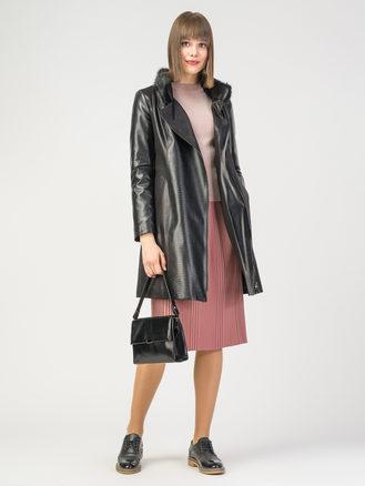 Кожаное пальто эко-замша 100% П/А, цвет черный, арт. 18108118  - цена 6290 руб.