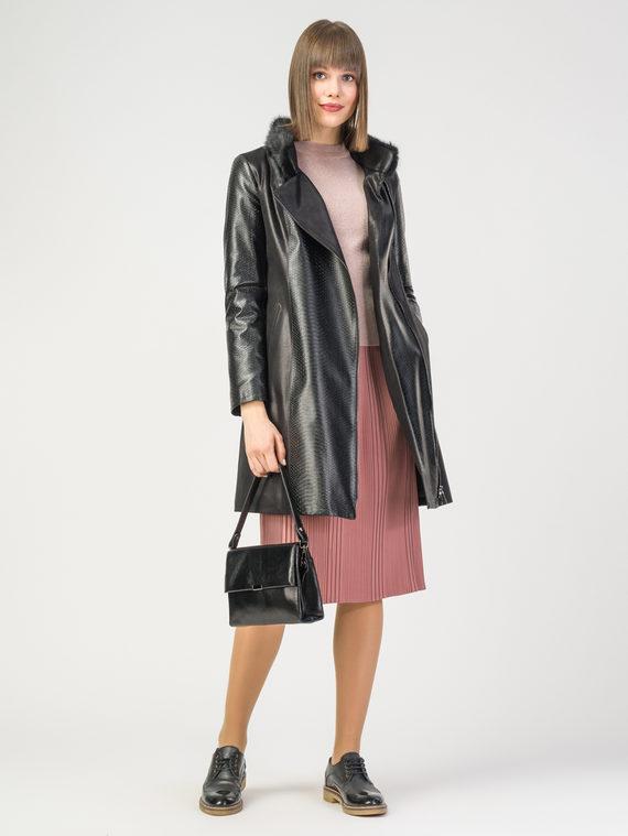 Кожаное пальто эко-замша 100% П/А, цвет черный, арт. 18108118  - цена 10590 руб.  - магазин TOTOGROUP