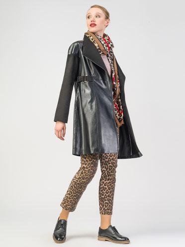 Кожаное пальто эко-кожа 100% П/А, цвет черный, арт. 18108119  - цена 6990 руб.  - магазин TOTOGROUP