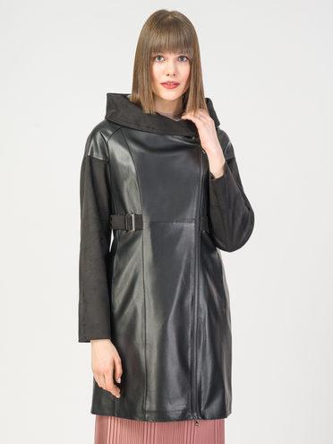 Кожаное пальто эко-кожа 100% П/А, цвет черный, арт. 18108120  - цена 7490 руб.  - магазин TOTOGROUP