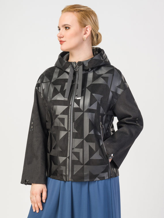 Кожаная куртка эко-замша 100% П/А, цвет черный, арт. 18108126  - цена 8990 руб.  - магазин TOTOGROUP