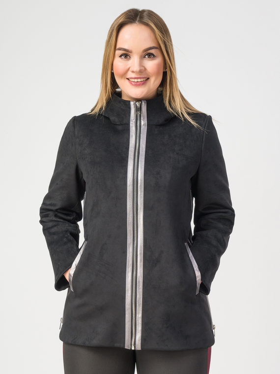 Кожаная куртка эко-замша 100% П/А, цвет черный, арт. 18108144  - цена 6630 руб.  - магазин TOTOGROUP