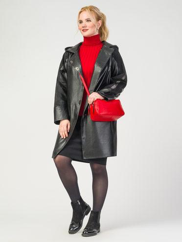 Кожаное пальто эко-замша 100% П/А, цвет черный, арт. 18108176  - цена 4990 руб.  - магазин TOTOGROUP