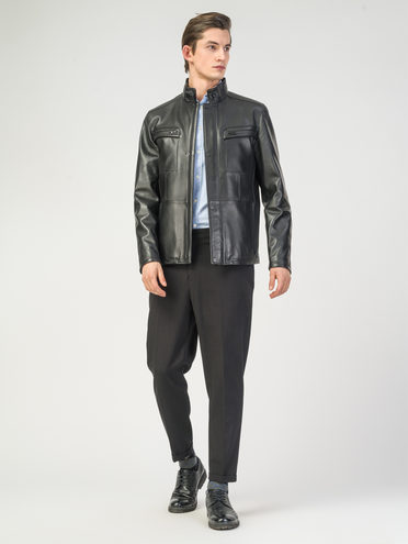 Кожаная куртка кожа , цвет черный, арт. 18108198  - цена 7990 руб.  - магазин TOTOGROUP