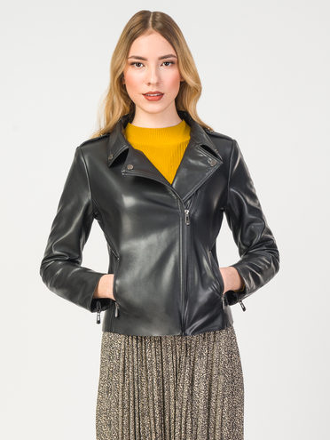 Кожаная куртка эко-кожа 100% П/А, цвет черный, арт. 18108206  - цена 4490 руб.  - магазин TOTOGROUP