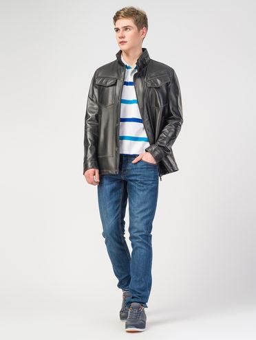 Кожаная куртка кожа, цвет черный, арт. 18108231  - цена 9490 руб.  - магазин TOTOGROUP