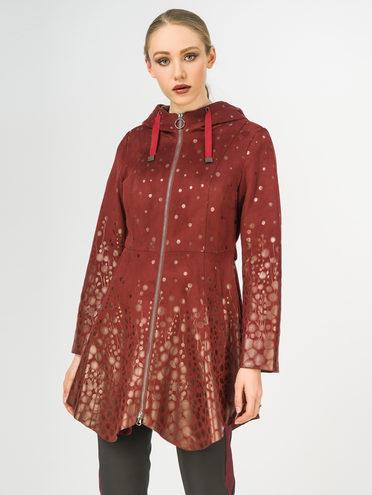 Кожаное пальто эко-замша 100% П/А, цвет красный, арт. 18108273  - цена 5890 руб.  - магазин TOTOGROUP