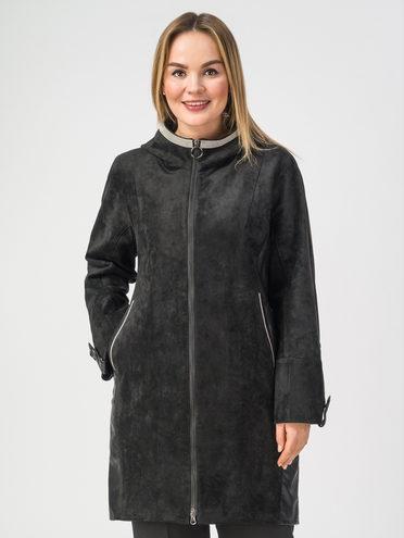 Кожаное пальто эко-замша 100% П/А, цвет черный, арт. 18108275  - цена 6630 руб.  - магазин TOTOGROUP