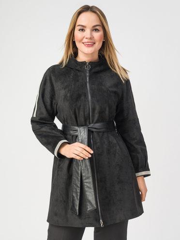 Кожаное пальто эко-замша 100% П/А, цвет черный, арт. 18108276  - цена 9990 руб.  - магазин TOTOGROUP