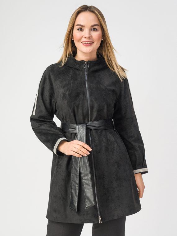 Кожаное пальто эко-замша 100% П/А, цвет черный, арт. 18108276  - цена 10590 руб.  - магазин TOTOGROUP