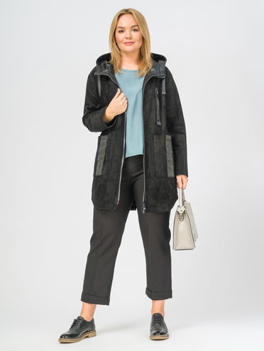 Кожаное пальто эко-замша 100% П/А, цвет черный, арт. 18108278  - цена 8990 руб.  - магазин TOTOGROUP