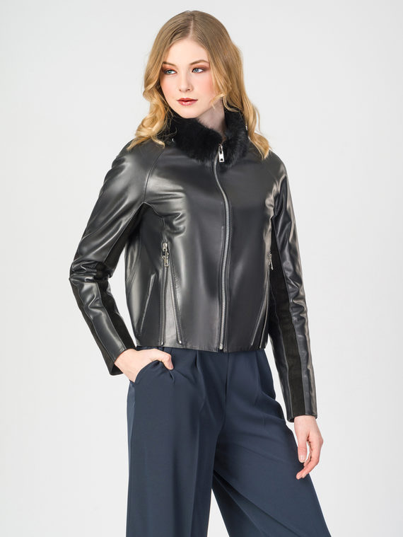 Кожаная куртка кожа , цвет черный, арт. 18108284  - цена 19990 руб.  - магазин TOTOGROUP