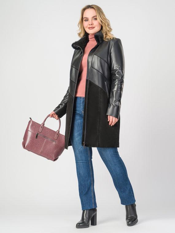 Кожаное пальто кожа , цвет черный, арт. 18108290  - цена 22690 руб.  - магазин TOTOGROUP