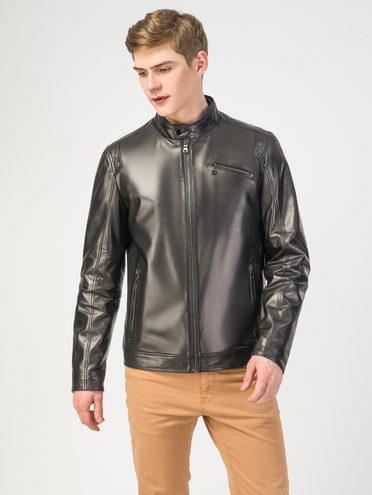 Кожаная куртка кожа, цвет черный, арт. 18108298  - цена 10590 руб.  - магазин TOTOGROUP
