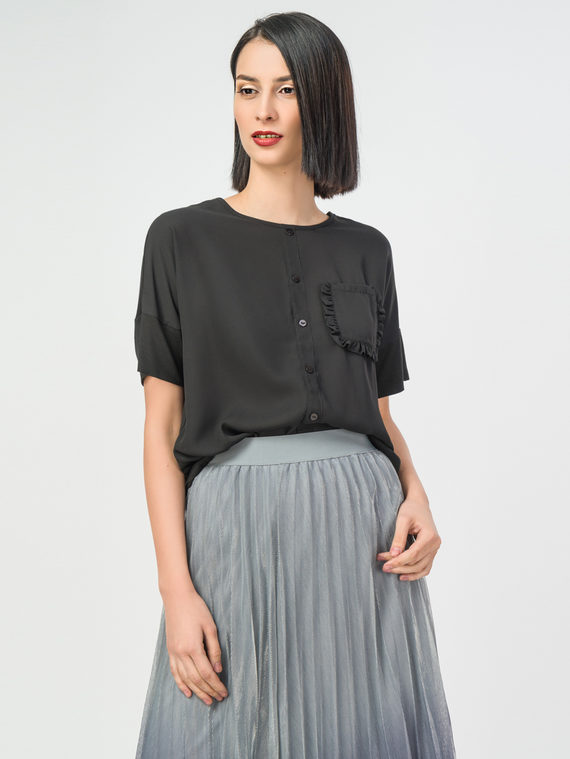 Блуза 50% полиэстер 48% вискоза 2% эластан, цвет черный, арт. 18108318  - цена 2420 руб.  - магазин TOTOGROUP