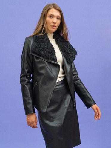 Кожаная куртка эко-кожа 100% П/А, цвет черный, арт. 18108571  - цена 9990 руб.  - магазин TOTOGROUP