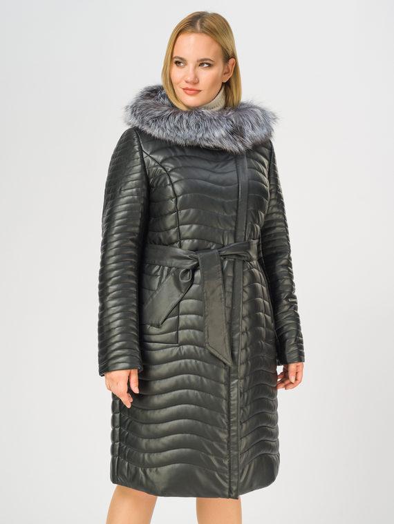 Кожаное пальто эко-кожа 100% П/А, цвет черный, арт. 18108579  - цена 13390 руб.  - магазин TOTOGROUP