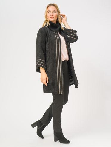 Кожаное пальто эко-замша 100% П/А, цвет черный, арт. 18108835  - цена 14190 руб.  - магазин TOTOGROUP