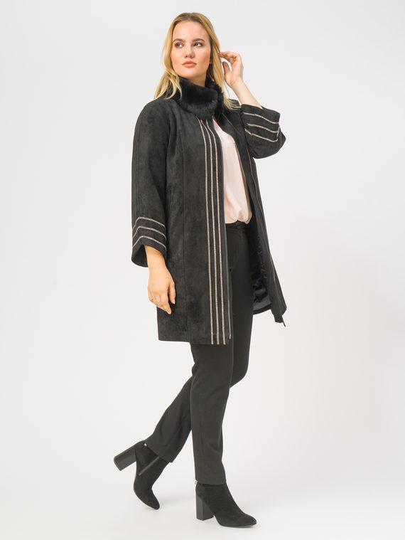 Кожаное пальто эко-замша 100% П/А, цвет черный, арт. 18108835  - цена 11990 руб.  - магазин TOTOGROUP