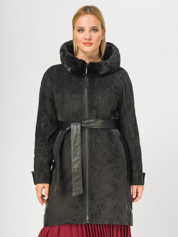 Кожаное пальто эко-замша 100% П/А, цвет черный, арт. 18108838  - цена 12690 руб.  - магазин TOTOGROUP